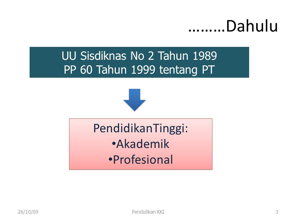 26/10/09Pendidikan KKI4 S1 D1 D4 Akademik Profesional S2 S3 PD Sp Sistem Pendidikan Tinggi di Indonesia (UU No 2/1989, PP 60/1999) Profesi ??