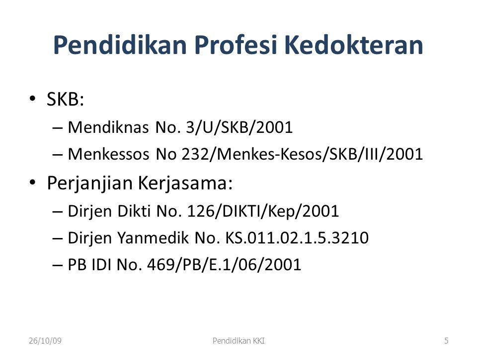 Pendidikan Profesi Kedokteran 26/10/09Pendidikan KKI6 SKB Mendiknas dan Menkessos No.