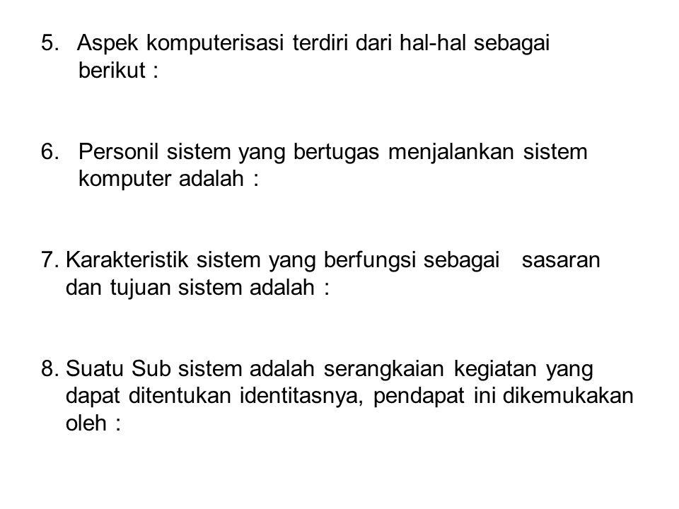 5.Aspek komputerisasi terdiri dari hal-hal sebagai berikut : 6.