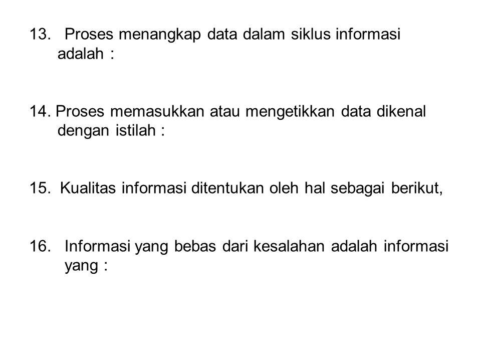 13.Proses menangkap data dalam siklus informasi adalah : 14.
