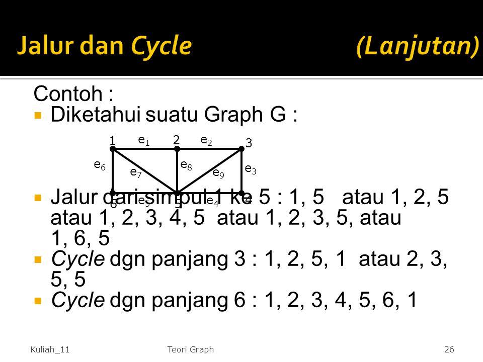 Contoh :  Diketahui suatu Graph G :  Jalur dari simpul 1 ke 5 : 1, 5 atau 1, 2, 5 atau 1, 2, 3, 4, 5 atau 1, 2, 3, 5, atau 1, 6, 5  Cycle dgn panja