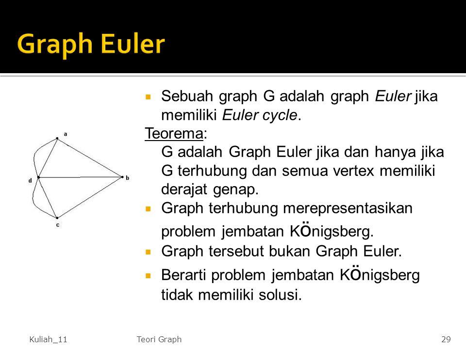  Sebuah graph G adalah graph Euler jika memiliki Euler cycle. Teorema: G adalah Graph Euler jika dan hanya jika G terhubung dan semua vertex memiliki