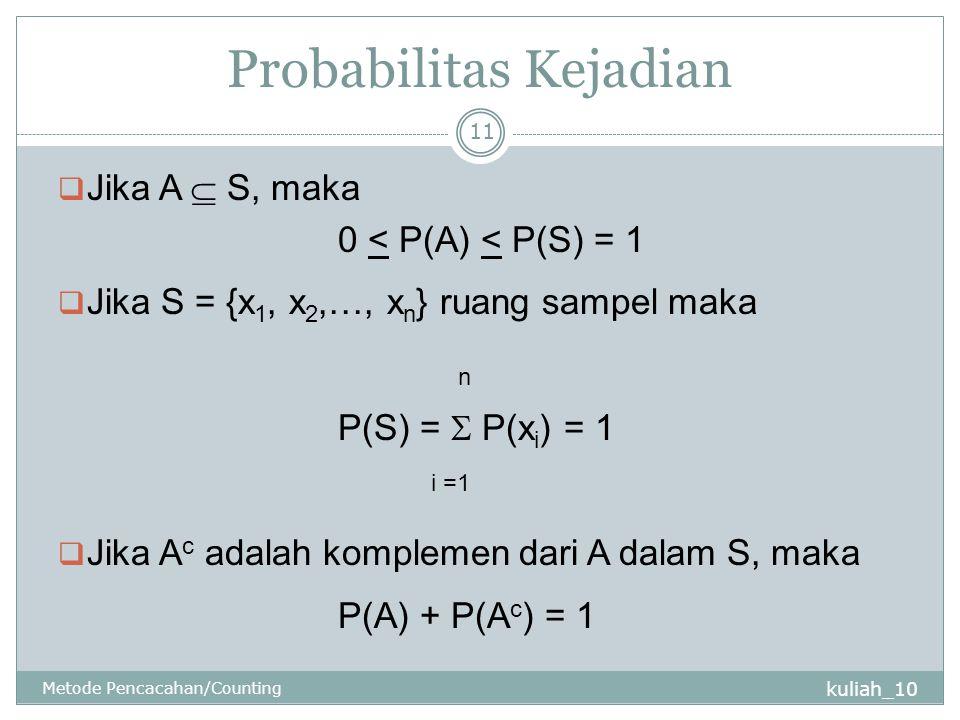 Probabilitas Kejadian kuliah_10 Metode Pencacahan/Counting 11  Jika A  S, maka 0 < P(A) < P(S) = 1  Jika S = {x 1, x 2,…, x n } ruang sampel maka n P(S) =  P(x i ) = 1 i =1  Jika A c adalah komplemen dari A dalam S, maka P(A) + P(A c ) = 1