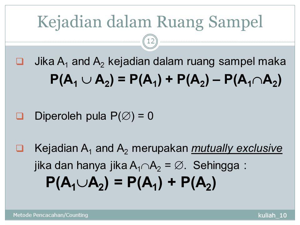 Kejadian dalam Ruang Sampel kuliah_10 Metode Pencacahan/Counting 12  Jika A 1 and A 2 kejadian dalam ruang sampel maka P(A 1  A 2 ) = P(A 1 ) + P(A 2 ) – P(A 1  A 2 )  Diperoleh pula P(  ) = 0  Kejadian A 1 and A 2 merupakan mutually exclusive jika dan hanya jika A 1  A 2 = .