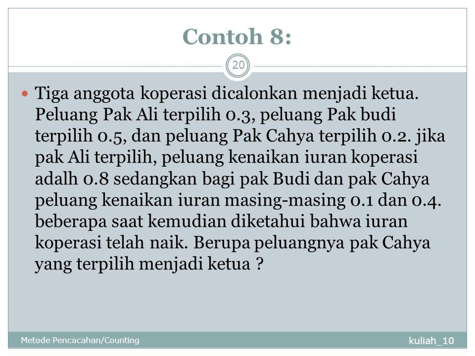 Contoh 8: kuliah_10 Metode Pencacahan/Counting 20 Tiga anggota koperasi dicalonkan menjadi ketua. Peluang Pak Ali terpilih 0.3, peluang Pak budi terpi