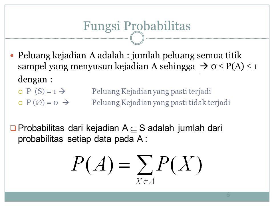 Fungsi Probabilitas Peluang kejadian A adalah : jumlah peluang semua titik sampel yang menyusun kejadian A sehingga  0  P(A)  1 dengan :  P (S) = 1  Peluang Kejadian yang pasti terjadi  P (  ) = 0  Peluang Kejadian yang pasti tidak terjadi  Probabilitas dari kejadian A  S adalah jumlah dari probabilitas setiap data pada A : 6