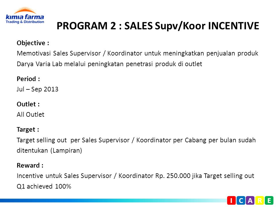 PROGRAM 2 : SALES Supv/Koor INCENTIVE Objective : Memotivasi Sales Supervisor / Koordinator untuk meningkatkan penjualan produk Darya Varia Lab melalu