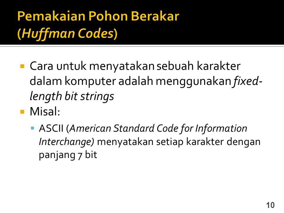  Cara untuk menyatakan sebuah karakter dalam komputer adalah menggunakan fixed- length bit strings  Misal:  ASCII (American Standard Code for Infor
