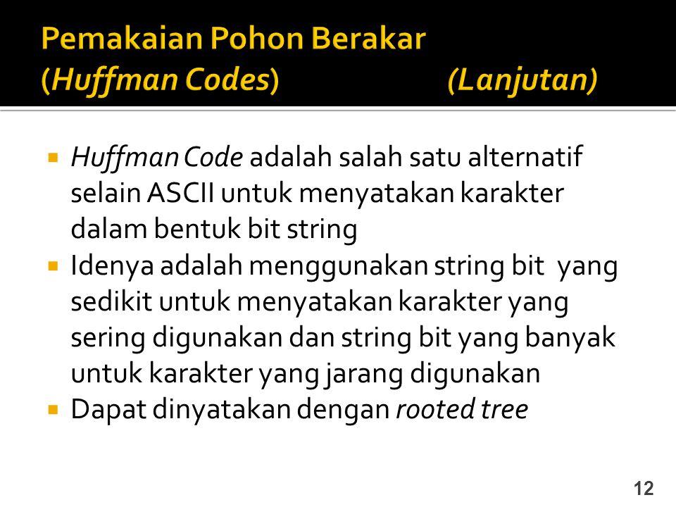 Huffman Code adalah salah satu alternatif selain ASCII untuk menyatakan karakter dalam bentuk bit string  Idenya adalah menggunakan string bit yang
