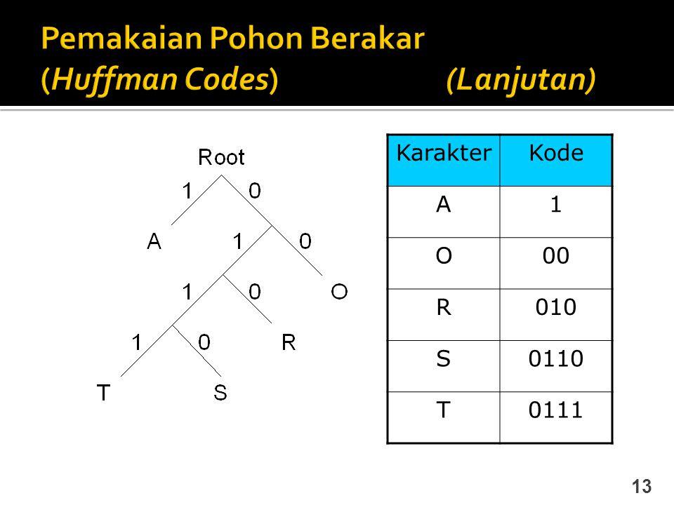 13 KarakterKode A1 O00 R010 S0110 T0111