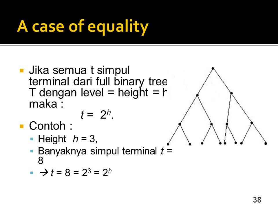 38  Jika semua t simpul terminal dari full binary tree T dengan level = height = h, maka : t = 2 h.  Contoh :  Height h = 3,  Banyaknya simpul ter