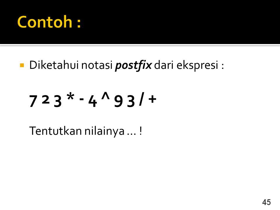  Diketahui notasi postfix dari ekspresi : 7 2 3 * - 4 ^ 9 3 / + Tentutkan nilainya … ! 45
