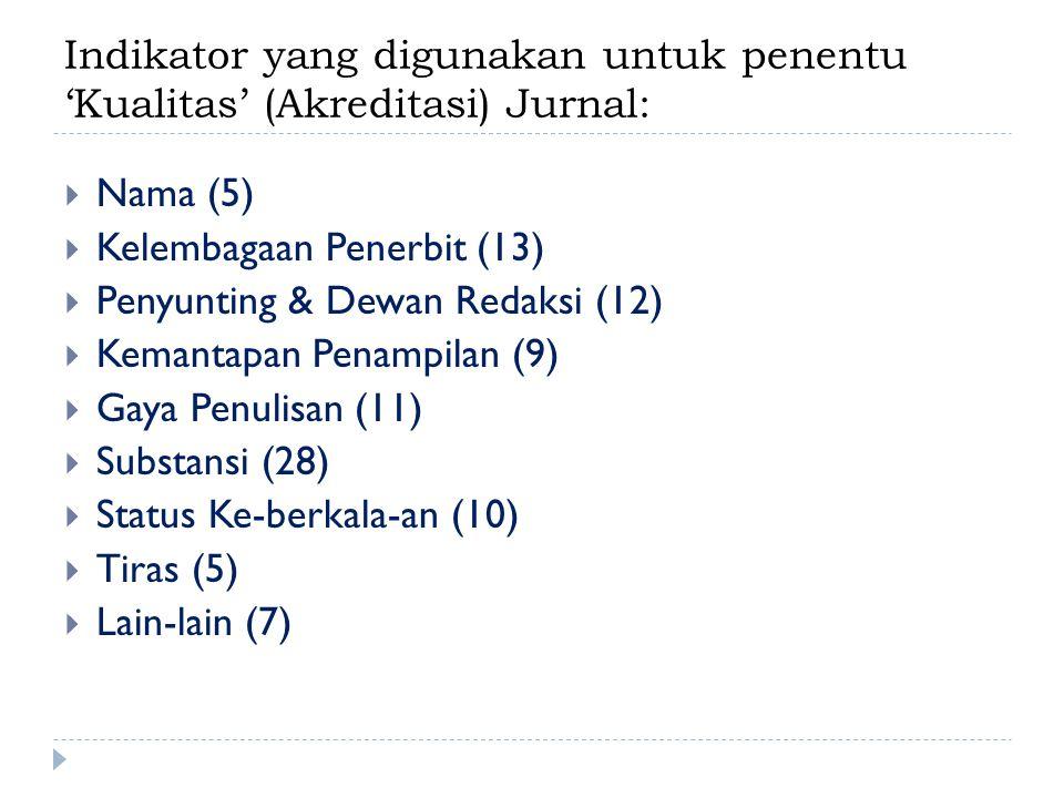 Indikator yang digunakan untuk penentu 'Kualitas' (Akreditasi) Jurnal:  Nama (5)  Kelembagaan Penerbit (13)  Penyunting & Dewan Redaksi (12)  Kemantapan Penampilan (9)  Gaya Penulisan (11)  Substansi (28)  Status Ke-berkala-an (10)  Tiras (5)  Lain-lain (7)