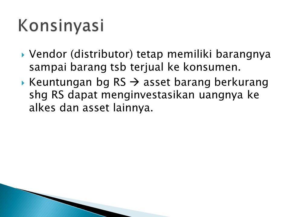 Vendor (distributor) tetap memiliki barangnya sampai barang tsb terjual ke konsumen.  Keuntungan bg RS  asset barang berkurang shg RS dapat mengin