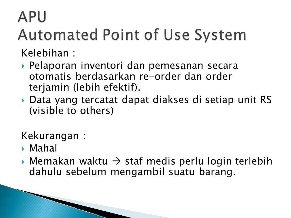 Kelebihan :  Pelaporan inventori dan pemesanan secara otomatis berdasarkan re-order dan order terjamin (lebih efektif).  Data yang tercatat dapat di