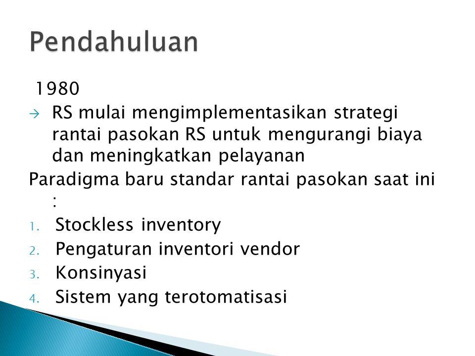 1980  RS mulai mengimplementasikan strategi rantai pasokan RS untuk mengurangi biaya dan meningkatkan pelayanan Paradigma baru standar rantai pasokan saat ini : 1.