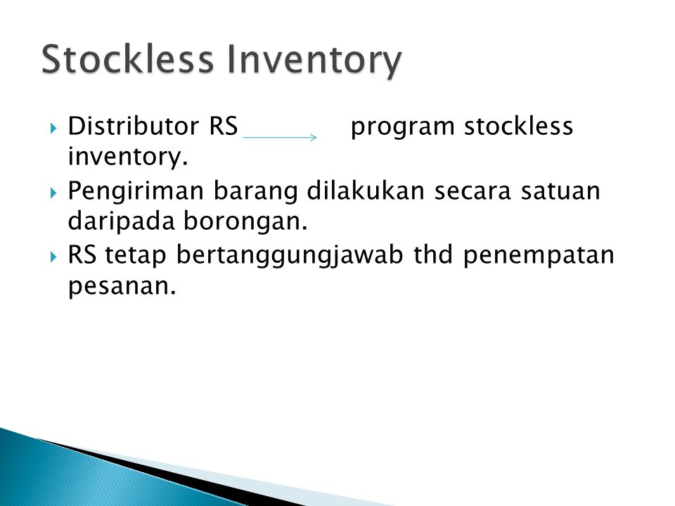  Distributor RS program stockless inventory.