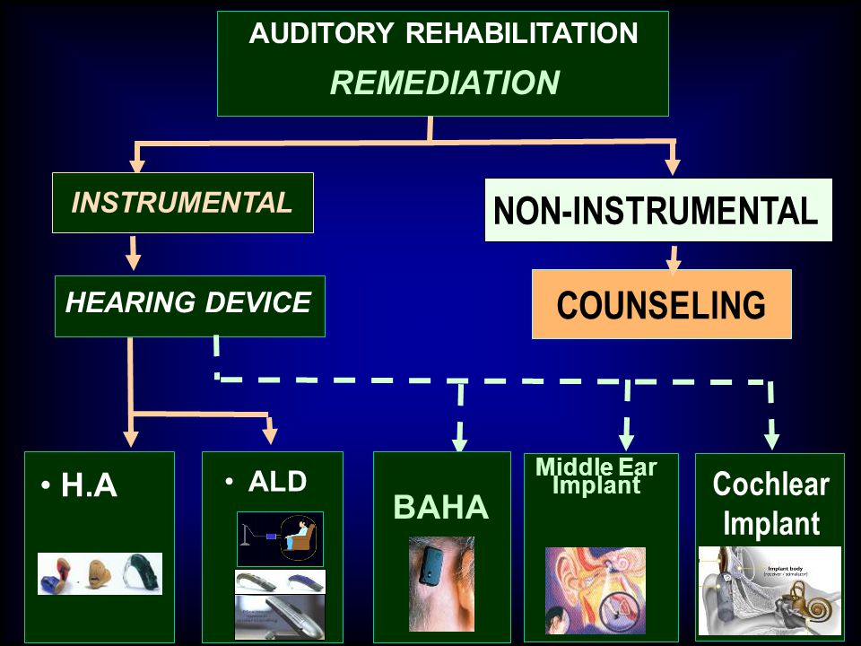 AUDITORY REHABILITATION REMEDIATION HEARING DEVICE COUNSELING BAHA Middle Ear Implant H.A INSTRUMENTAL ALD NON-INSTRUMENTAL Cochlear Implant