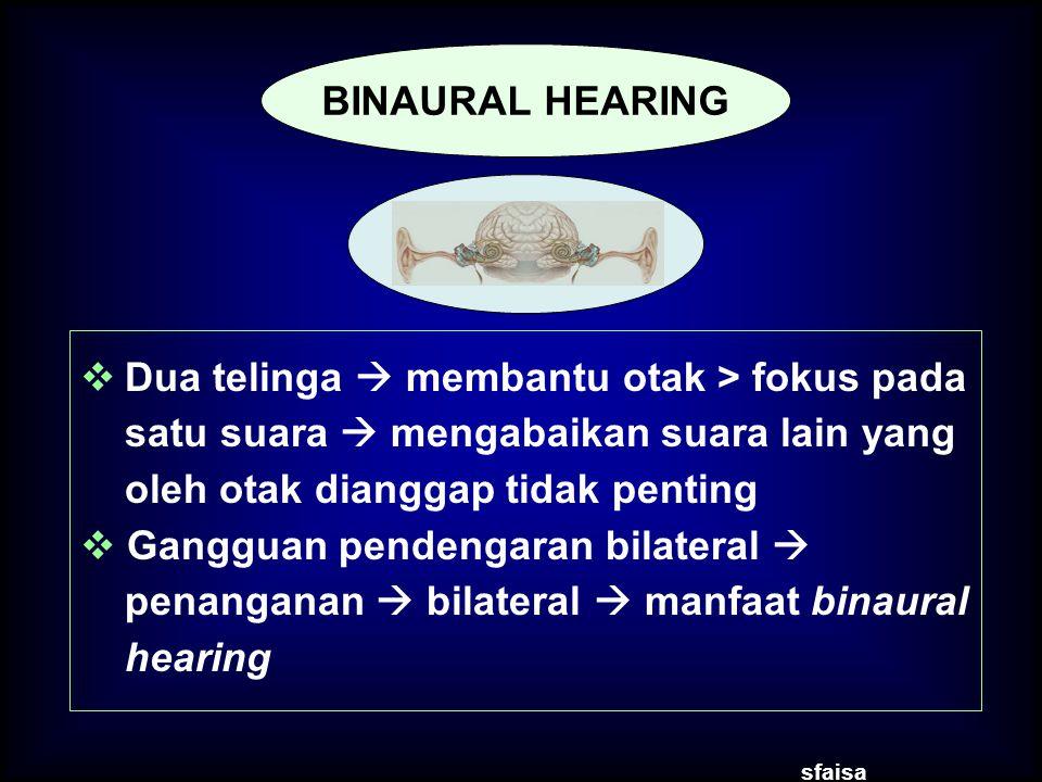  Dua telinga  membantu otak > fokus pada satu suara  mengabaikan suara lain yang oleh otak dianggap tidak penting  Gangguan pendengaran bilateral  penanganan  bilateral  manfaat binaural hearing sfaisa BINAURAL HEARING