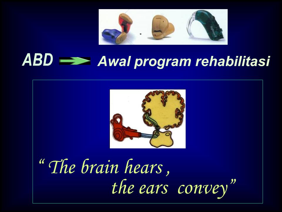 "ABD Awal program rehabilitasi "" The brain hears, the ears convey"""