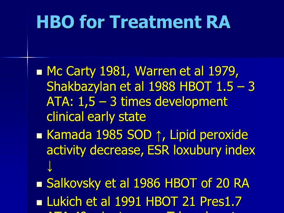 HBO for Treatment RA Mc Carty 1981, Warren et al 1979, Shakbazylan et al 1988 HBOT 1.5 – 3 ATA: 1,5 – 3 times development clinical early state Mc Cart