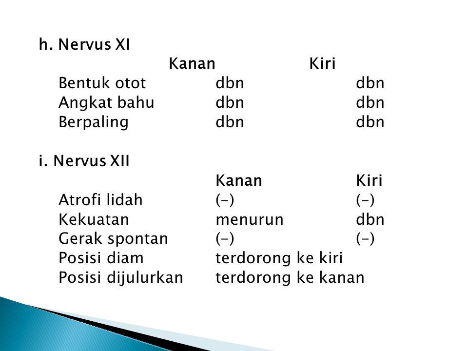 h. Nervus XI KananKiri Bentuk ototdbndbn Angkat bahudbndbn Berpalingdbndbn i. Nervus XII KananKiri Atrofi lidah(-)(-) Kekuatanmenurun dbn Gerak sponta