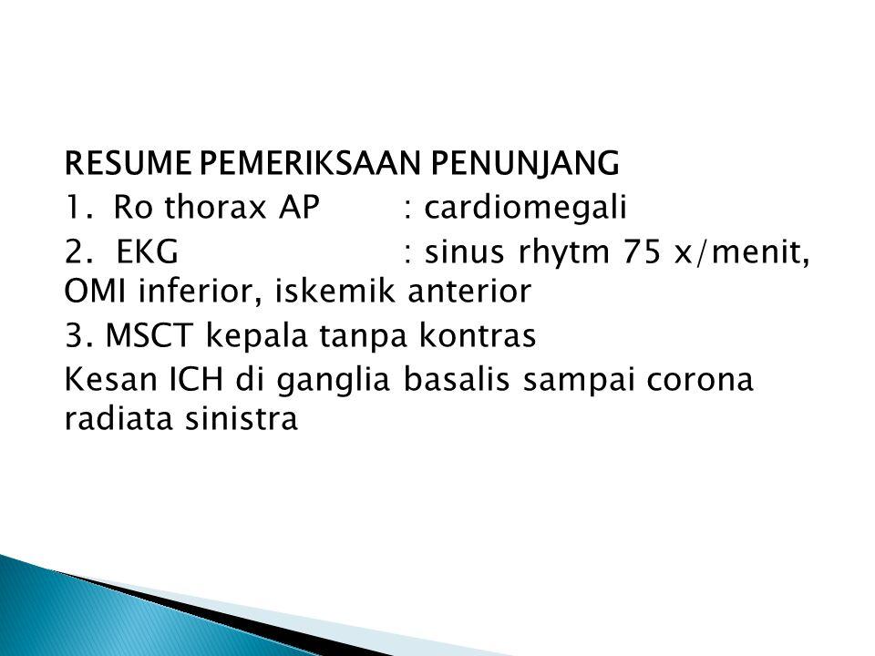 RESUME PEMERIKSAAN PENUNJANG 1.Ro thorax AP: cardiomegali 2. EKG: sinus rhytm 75 x/menit, OMI inferior, iskemik anterior 3. MSCT kepala tanpa kontras
