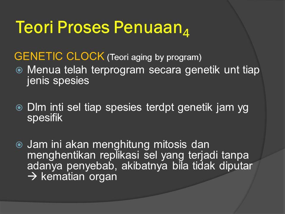 Teori Proses Penuaan 4 GENETIC CLOCK (Teori aging by program)  Menua telah terprogram secara genetik unt tiap jenis spesies  Dlm inti sel tiap spesi