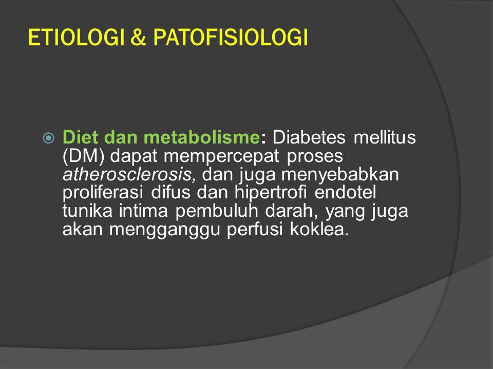 ETIOLOGI & PATOFISIOLOGI  Diet dan metabolisme: Diabetes mellitus (DM) dapat mempercepat proses atherosclerosis, dan juga menyebabkan proliferasi dif