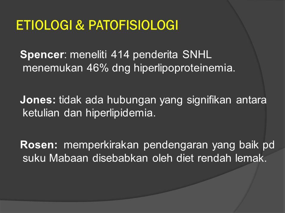 ETIOLOGI & PATOFISIOLOGI Spencer: meneliti 414 penderita SNHL menemukan 46% dng hiperlipoproteinemia. Jones: tidak ada hubungan yang signifikan antara
