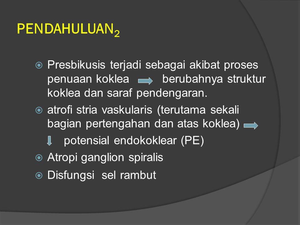 KEKERAPAN  Presbikusis merupakan kelainan yang sering dijumpai pada populasi usia > 60 tahun.