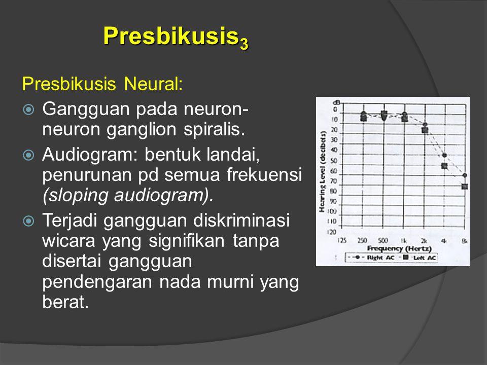 Presbikusis Neural:  Gangguan pada neuron- neuron ganglion spiralis.  Audiogram: bentuk landai, penurunan pd semua frekuensi (sloping audiogram). 