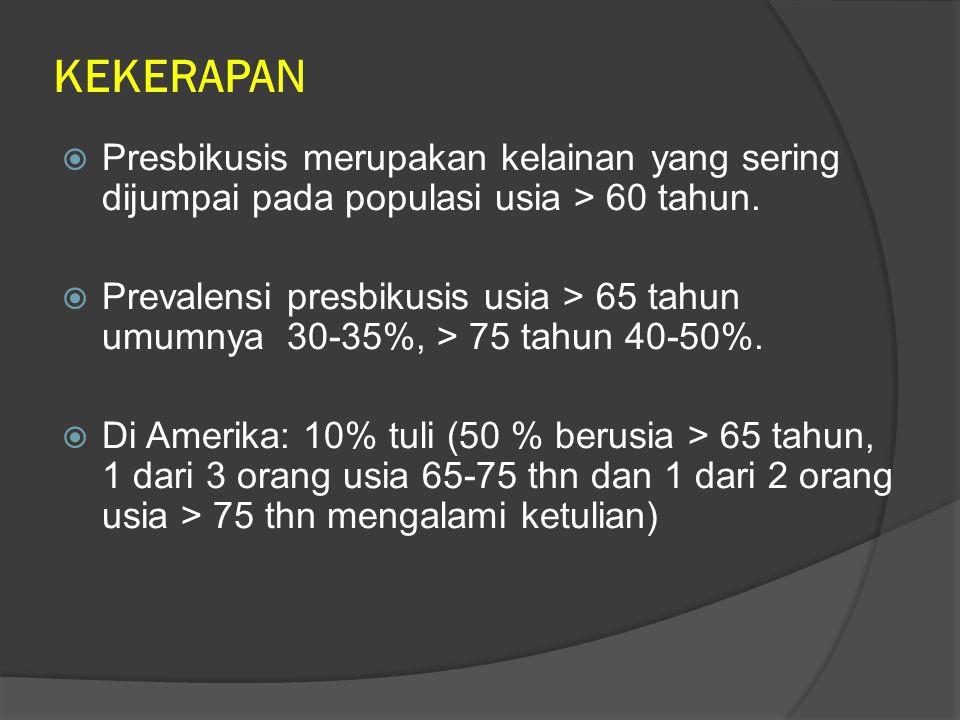 KEKERAPAN 2  US census Bureau International Data Base (2004): jumlah presbikusis di Indonesia sebesar 9,3 juta dari 238 juta orang.