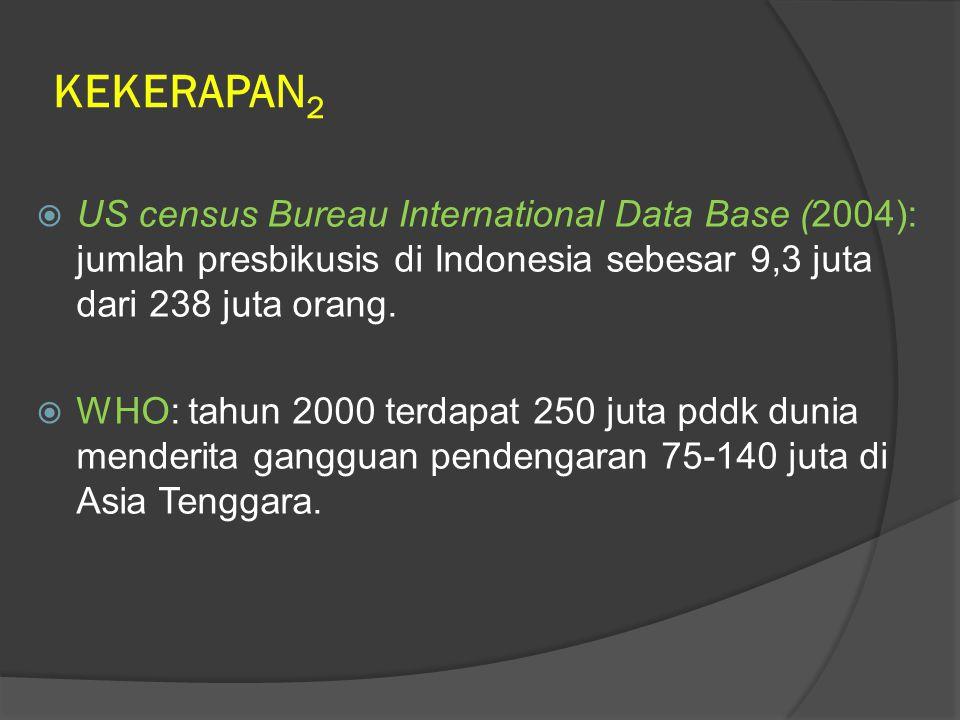 KEKERAPAN 2  US census Bureau International Data Base (2004): jumlah presbikusis di Indonesia sebesar 9,3 juta dari 238 juta orang.  WHO: tahun 2000