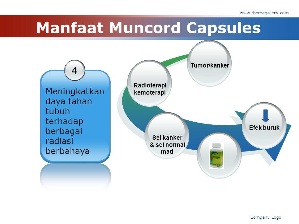 www.themegallery.com Company Logo Manfaat Muncord Capsules 4 Meningkatkan daya tahan tubuh terhadap berbagai radiasi berbahaya Radioterapi kemoterapi Tumor/kankerSel kanker & sel normal mati Efek buruk