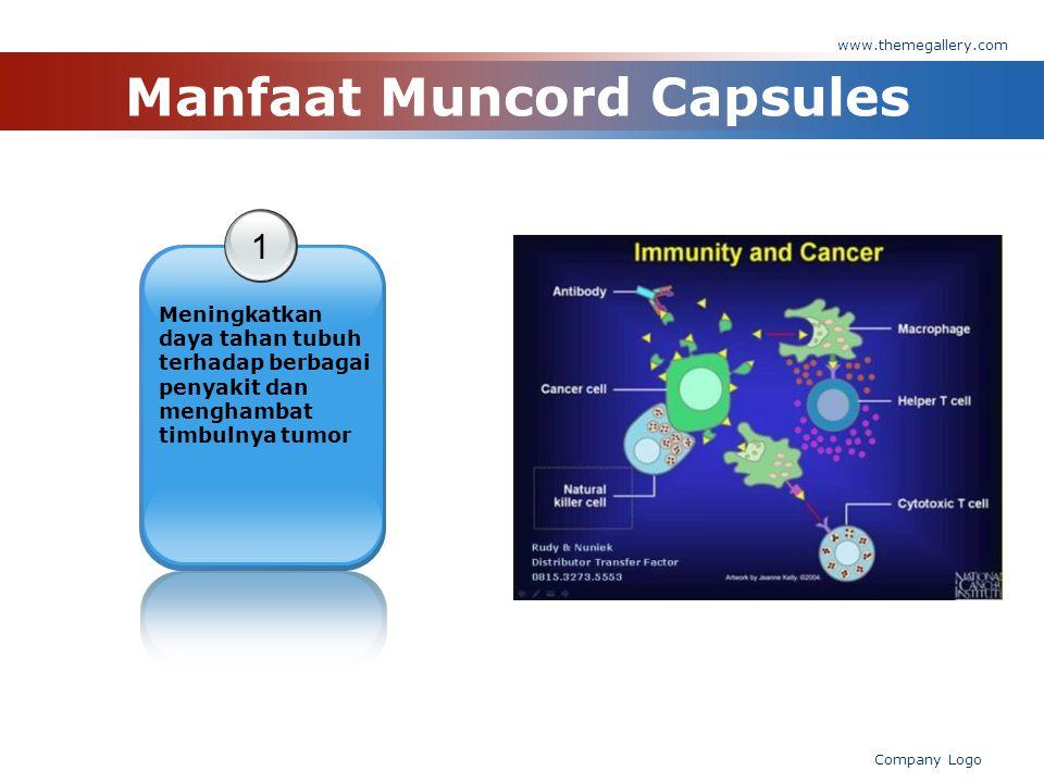 www.themegallery.com Company Logo Manfaat Muncord Capsules 1 Meningkatkan daya tahan tubuh terhadap berbagai penyakit dan menghambat timbulnya tumor