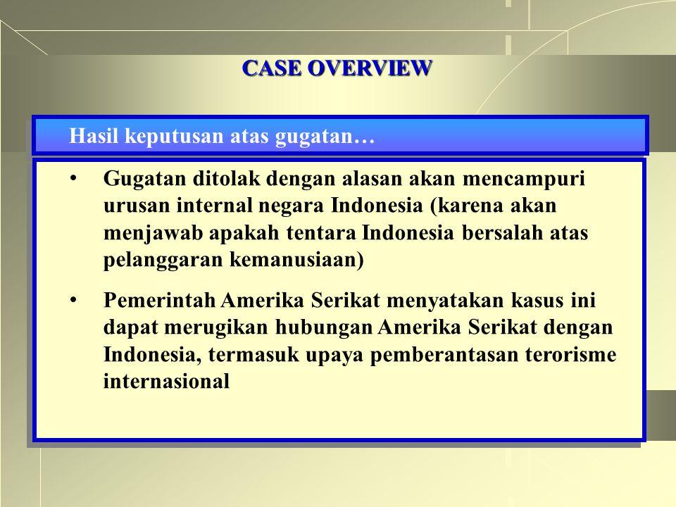 CASE OVERVIEW Hasil keputusan atas gugatan… Gugatan ditolak dengan alasan akan mencampuri urusan internal negara Indonesia (karena akan menjawab apaka