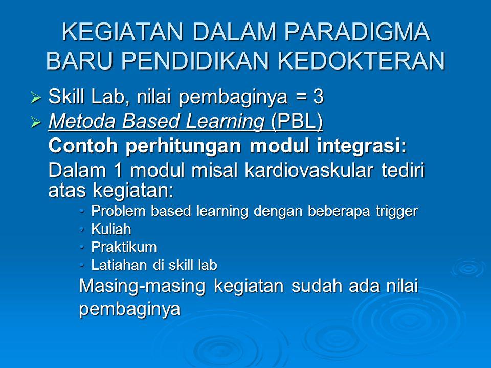 KEGIATAN DALAM PARADIGMA BARU PENDIDIKAN KEDOKTERAN  Skill Lab, nilai pembaginya = 3  Metoda Based Learning (PBL) Contoh perhitungan modul integrasi