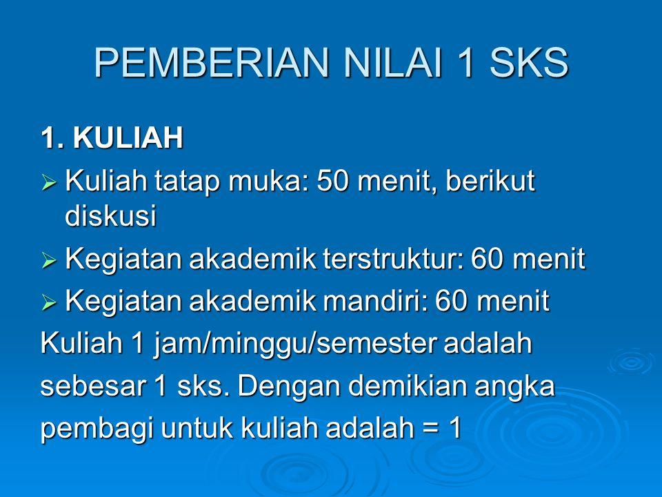 PEMBERIAN NILAI 1 SKS 1.