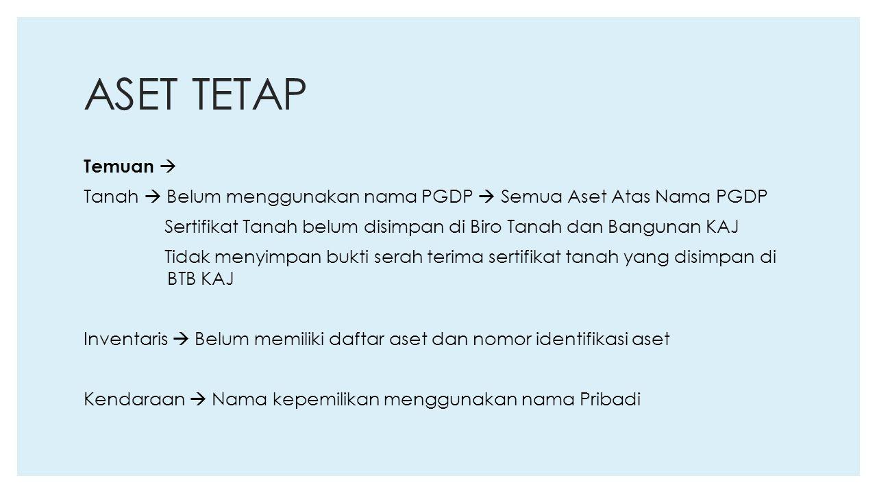 ASET TETAP Temuan  Tanah  Belum menggunakan nama PGDP  Semua Aset Atas Nama PGDP Sertifikat Tanah belum disimpan di Biro Tanah dan Bangunan KAJ Tid