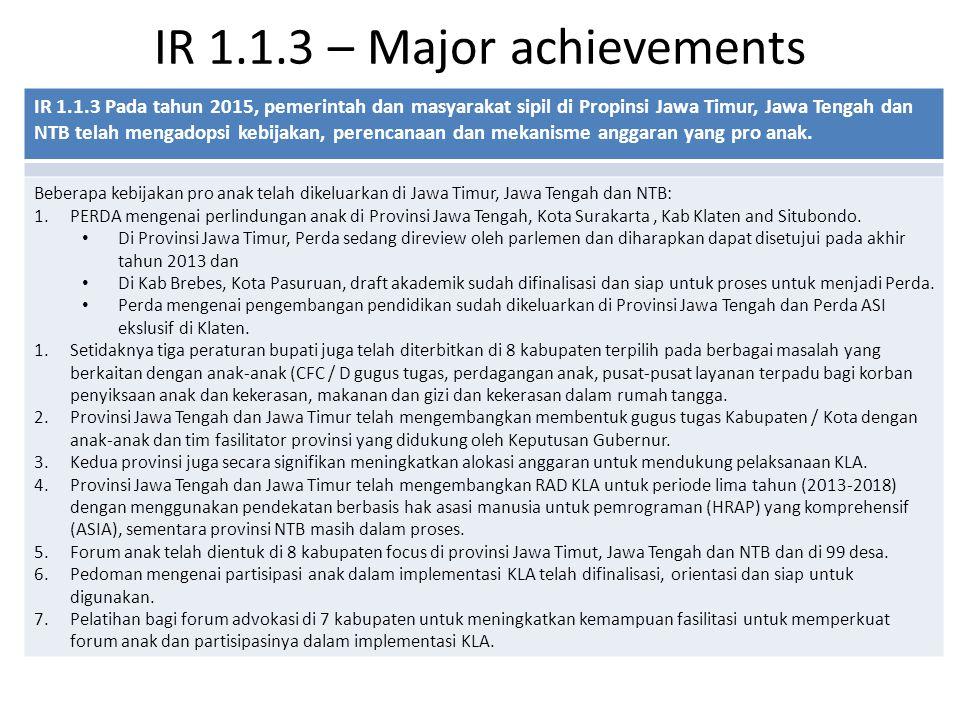 IR 1.1.3 – Major achievements IR 1.1.3 Pada tahun 2015, pemerintah dan masyarakat sipil di Propinsi Jawa Timur, Jawa Tengah dan NTB telah mengadopsi kebijakan, perencanaan dan mekanisme anggaran yang pro anak.