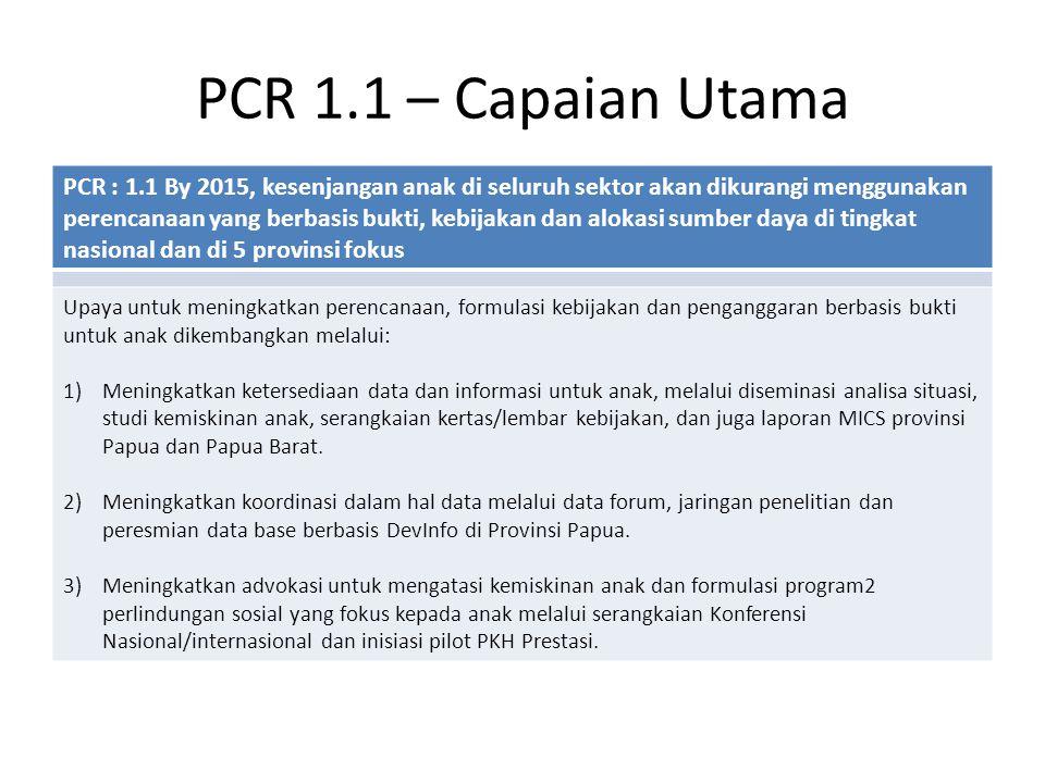 PCR 1.1 – Capaian Utama PCR : 1.1 By 2015, kesenjangan anak di seluruh sektor akan dikurangi menggunakan perencanaan yang berbasis bukti, kebijakan dan alokasi sumber daya di tingkat nasional dan di 5 provinsi fokus Upaya untuk meningkatkan perencanaan, formulasi kebijakan dan penganggaran berbasis bukti untuk anak dikembangkan melalui: 1)Meningkatkan ketersediaan data dan informasi untuk anak, melalui diseminasi analisa situasi, studi kemiskinan anak, serangkaian kertas/lembar kebijakan, dan juga laporan MICS provinsi Papua dan Papua Barat.
