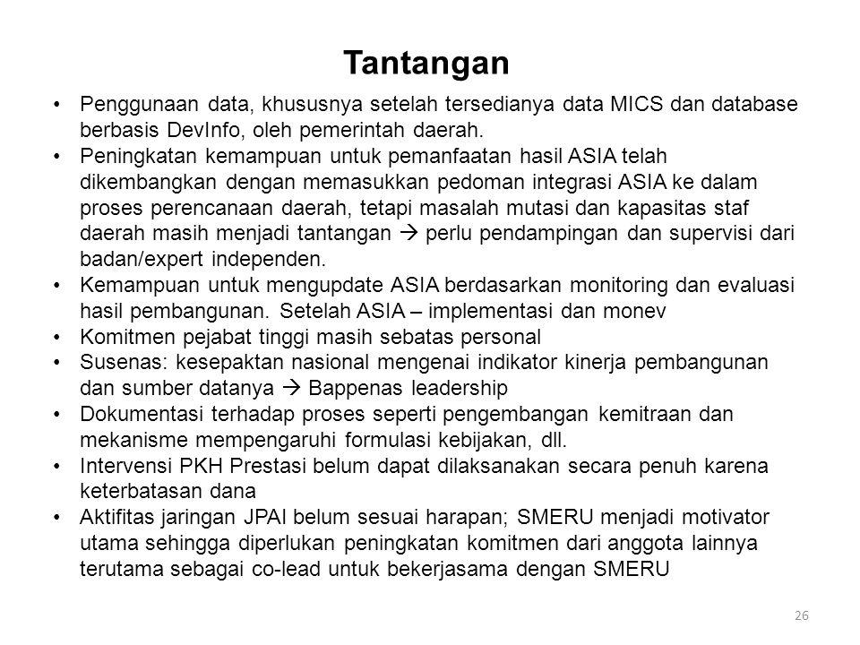 26 Tantangan Penggunaan data, khususnya setelah tersedianya data MICS dan database berbasis DevInfo, oleh pemerintah daerah.