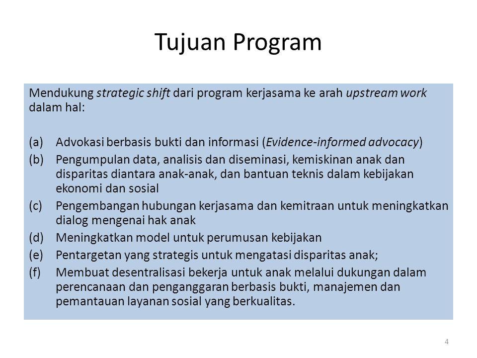 Tujuan Program Mendukung strategic shift dari program kerjasama ke arah upstream work dalam hal: (a)Advokasi berbasis bukti dan informasi (Evidence-informed advocacy) (b)Pengumpulan data, analisis dan diseminasi, kemiskinan anak dan disparitas diantara anak-anak, dan bantuan teknis dalam kebijakan ekonomi dan sosial (c)Pengembangan hubungan kerjasama dan kemitraan untuk meningkatkan dialog mengenai hak anak (d)Meningkatkan model untuk perumusan kebijakan (e)Pentargetan yang strategis untuk mengatasi disparitas anak; (f)Membuat desentralisasi bekerja untuk anak melalui dukungan dalam perencanaan dan penganggaran berbasis bukti, manajemen dan pemantauan layanan sosial yang berkualitas.