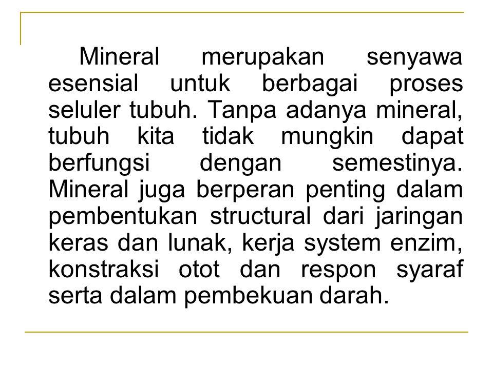 Mineral merupakan senyawa esensial untuk berbagai proses seluler tubuh. Tanpa adanya mineral, tubuh kita tidak mungkin dapat berfungsi dengan semestin