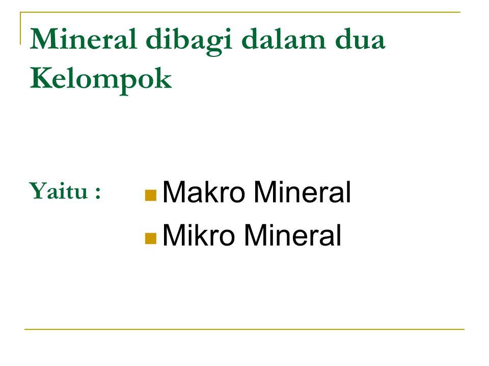 MAKRO MINERAL Makromineral adalah mineral-mineral yang diperlukan tubuh dalam jumlah yang cukup besar Mineral makro dibutuhkan dengan jumlah > 100 mg per hari Yang termasuk di dalam kelas makromineral antara lain Natrium, kalsium, clorida, fosfor, magnesium, besi, iodine dan kalium.