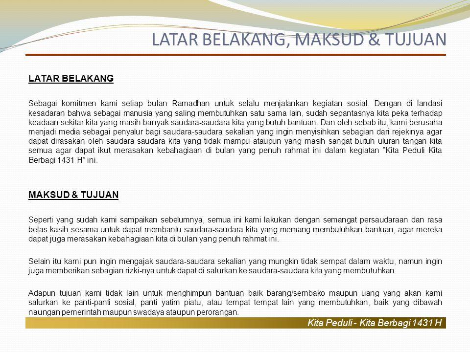 Kita Peduli - Kita Berbagi 1431 H 1.Panti Yatama Baitul Mustaqil (Rumah Kemerdekaan - Panti Asuhan Anak Korban kerusuhan Ambon Poso) Pengasuh:Bpk.