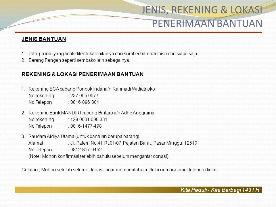 Kita Peduli - Kita Berbagi 1431 H Pelaksanaan Bakti Sosial ini akan dilaksanakan pada tanggal 4 September 2010 pukul 10.00 WIB.