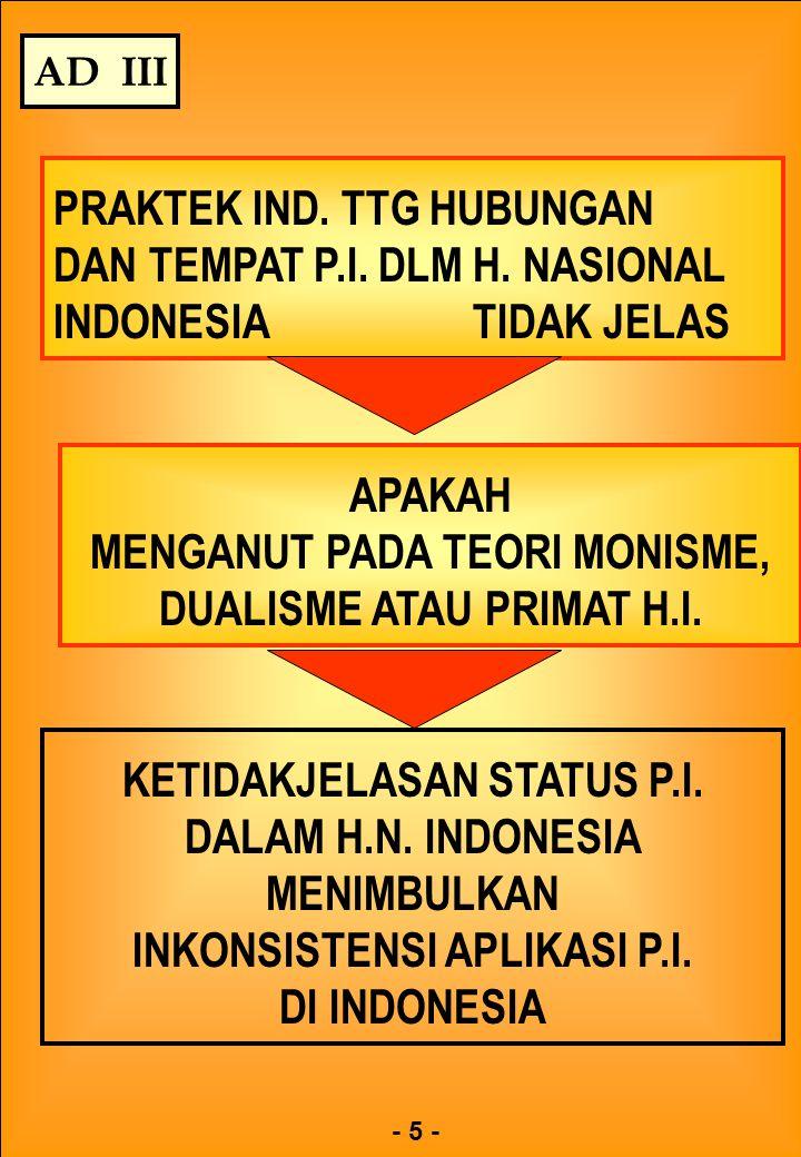 PRAKTEK IND. TTG HUBUNGAN DAN TEMPAT P.I. DLM H. NASIONAL INDONESIA TIDAK JELAS - 5 - AD III APAKAH MENGANUT PADA TEORI MONISME, DUALISME ATAU PRIMAT