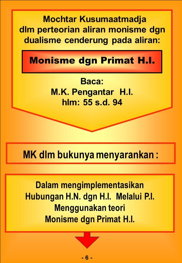 Mochtar Kusumaatmadja dlm perteorian aliran monisme dgn dualisme cenderung pada aliran: Monisme dgn Primat H.I. Baca: M.K. Pengantar H.I. hlm: 55 s.d.